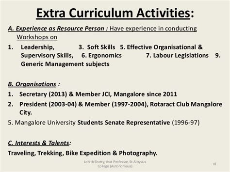 Curricular Activities In Resume Exles by Resume Sle Extracurricular Activities