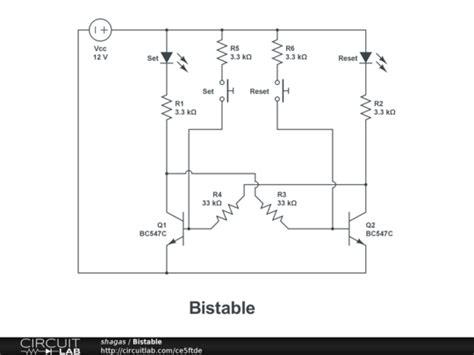 Bistable Transistor Multivibrator Circuitlab