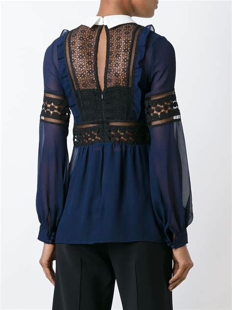 self portrait embroidered blouse in blue lyst