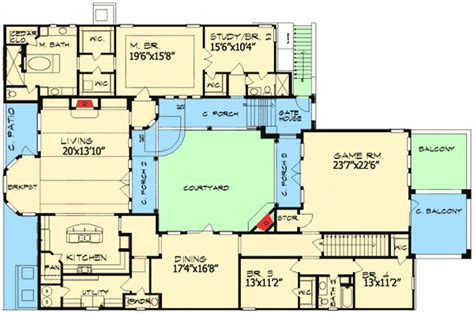 European Home Plan With Central Courtyard