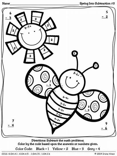 Subtraction Spring Math Number Code Printables Puzzles