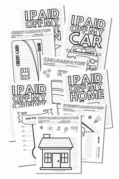 Debt Payoff Coloring Tracker Printables Savings Card