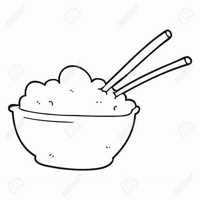 Rice Bowl Cartoon Plate Drawing Clipart Illustration
