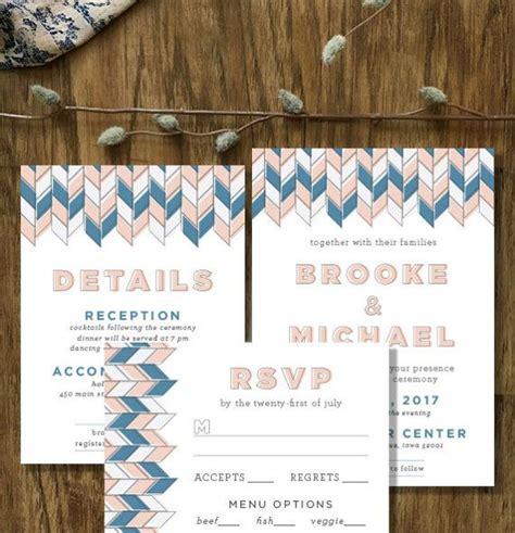 herringbone wedding printed invitation suite rsvp card