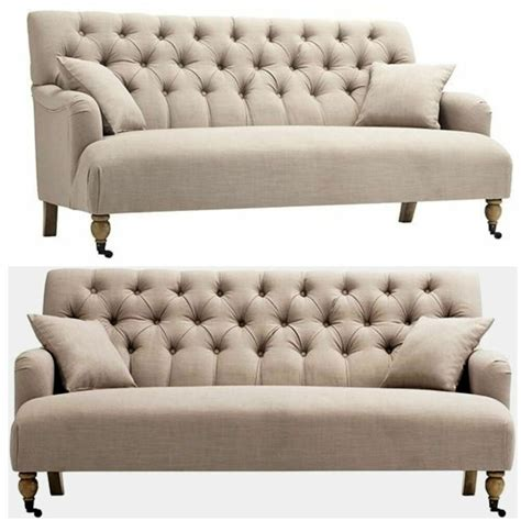 beige greige button tufted sofa mid century modern - Tufted Settee Loveseat