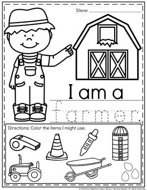 community helpers preschool theme planning playtime 246 | Community Helpers Worksheets Farmer