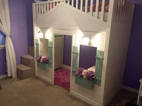 Cottage Loft Bed Cottage Loft Bed Playhouse With Stairs Lights And Desk