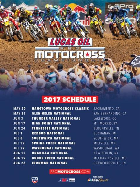 motocross ama schedule 2017 lucas oil pro motocross scheduled announced cycle news
