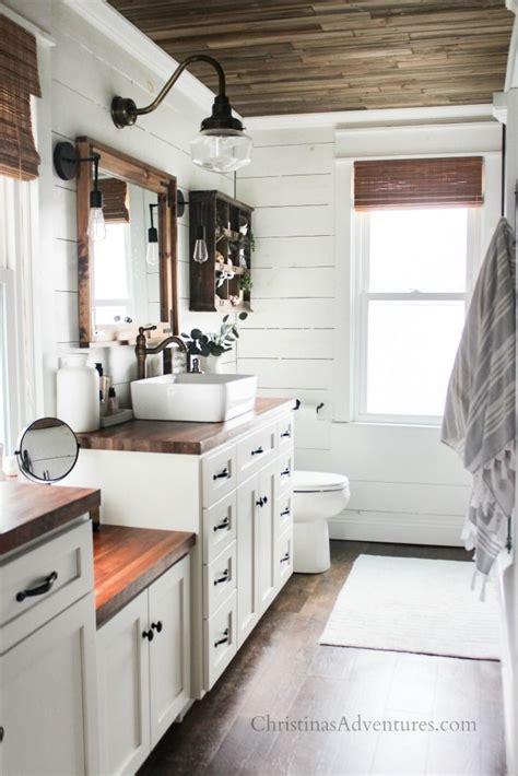 vintage inspired farmhouse bathroom decor  spring