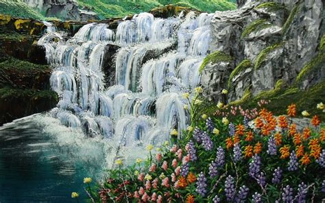 excellent waterfalls flowers wallpapers excellent