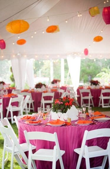 Wedding Tent Table Clothes Pink Orange Yellow Chairs