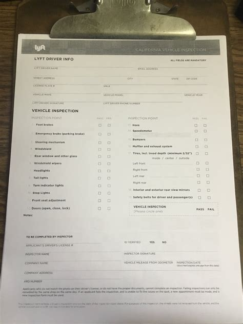 uber raiser inspection form