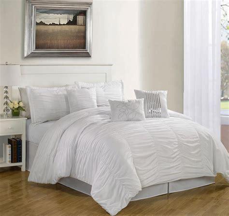 piece queen hermosa ruffled comforter set white