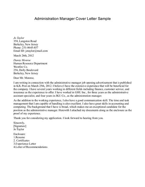 Covering Letter Exles For Administrator by Cover Letter College Administrator 28 Images Cover