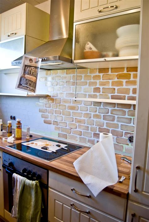 remodelaholic tiny kitchen renovation with faux painted brick backsplash