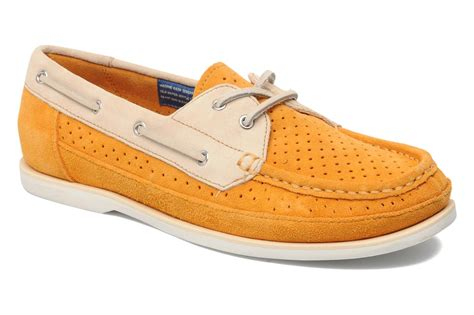 rockport bonnie perf boat shoe lace up shoes in yellow at