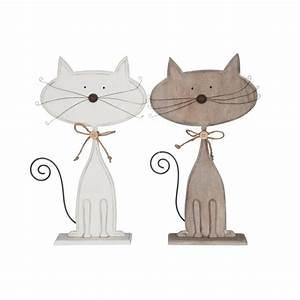 Objet Deco Bois Naturel : chat d co bois naturel blanc grand 35x21cm ~ Teatrodelosmanantiales.com Idées de Décoration