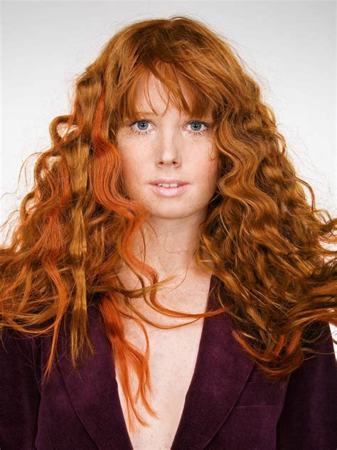 long red hair  large pressed waves
