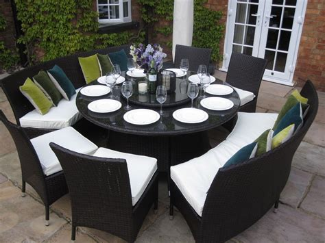 Patio Dining Sets With Bench Seating by Large Dining Table Benches And Chairs Rattan Garden
