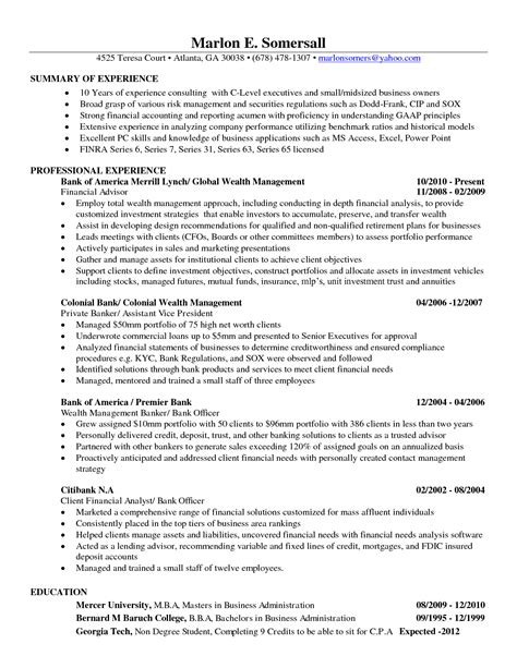 Entry Level Finance Resume Exles by Sle Business Analyst Resume Entry Level Resume Cv Cover Letter
