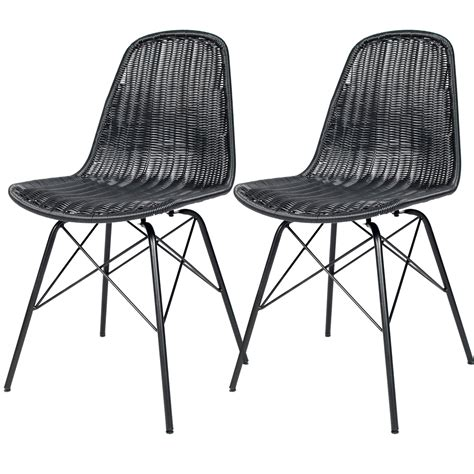 chaise design ée 50 chaise tiptur en résine tressée lot de 2
