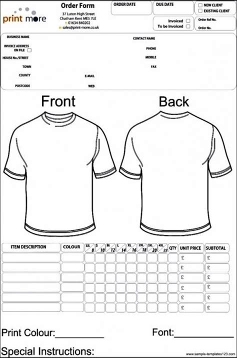 apparel order form template template order form