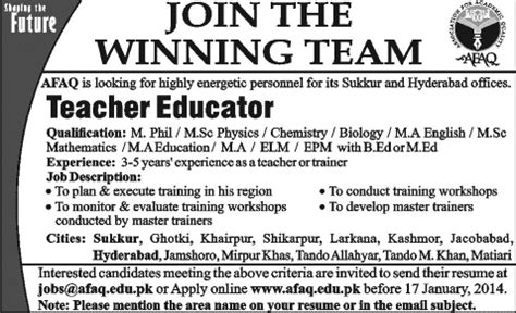 Teachers Resumes In Hyderabad by Afaq 2014 For Educator In Hyderabad Sukkur Jang On 12 Jan 2014 In Pakistan