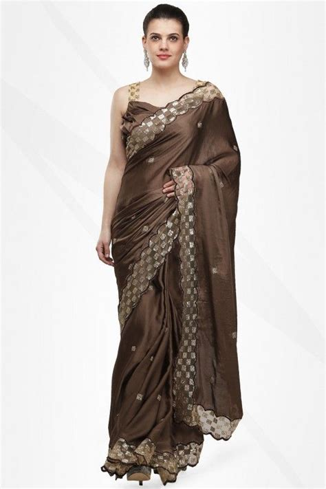 Woven design kanjeevaram coffee brown saree. Rich Coffee Brown Satin Sari With Shimmer Work With Stitched Blouse- Pret By Rahul Thakur ...