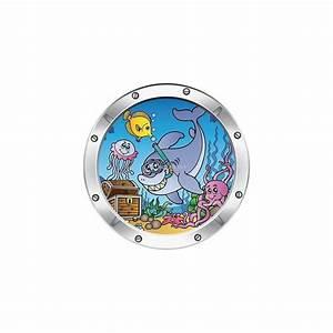 Stickers Muraux Trompe L Oeil : sticker hublot enfant trompe l 39 oeil poisson dauphin 024 ~ Dailycaller-alerts.com Idées de Décoration