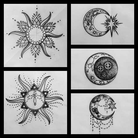 sun  moon designs   tattooed