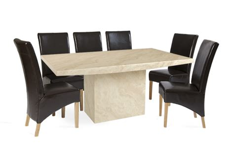 crema 220cm marble dining table with 8 cannes brown chairs