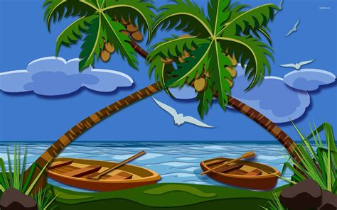 Animated Tree Wallpaper - coconut trees 2 wallpaper vector wallpapers 10797