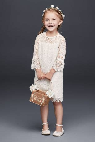 short lace flower girl dress  illusion sleeves david