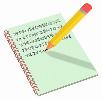 Notebook Pencil Clipart Vector Writing Paper Pen