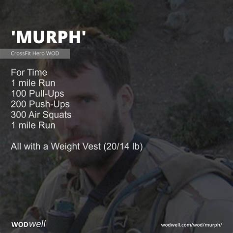 murph wod crossfit wodwell workout ups push wods hero navy pull workouts squats mile weight vest