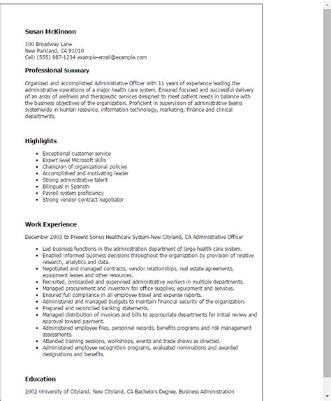 professional administrative officer templates to showcase