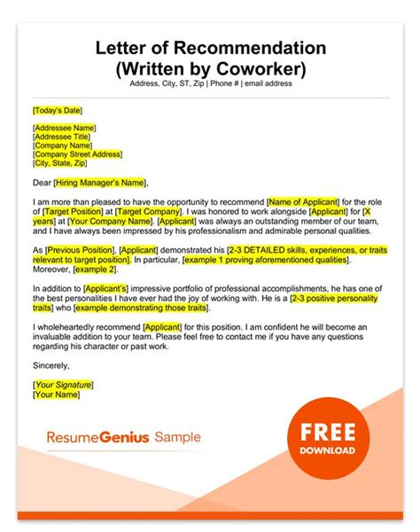 letter of recommendation for coworker letter of recommendation sles templates for