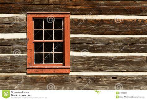 red window  log cabin stock photo image  historic