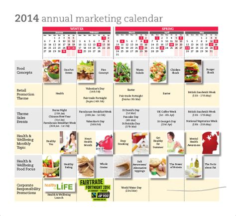 Promotional Calendar Template by Marketing Calendar Template 3 Free Excel Documents