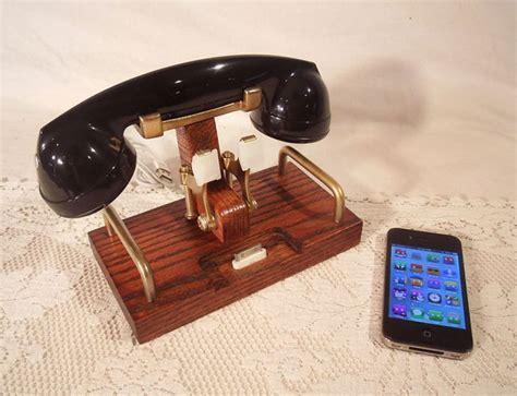 retro phone for iphone iphone dock features retro telephone bluetooth headset