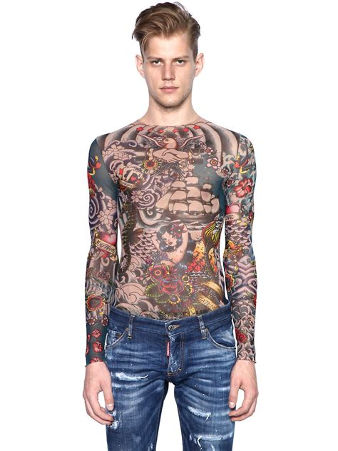 Dsquared² Tattoo Printed Sheer Long Sleeve Tshirt For Men