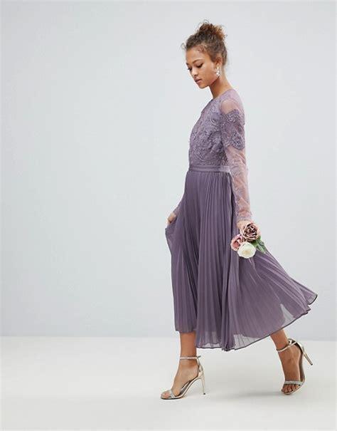 Asos Long Sleeve Lace Pleated Midi Dress Asos