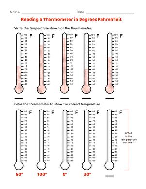 reading the thermometer worksheet education
