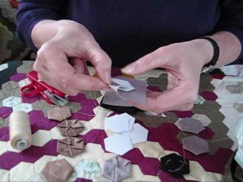 traditional english hexagon patchwork demonstration