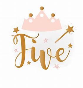 5th Birthday SVG clipart baby girl Birthday crown Birthday