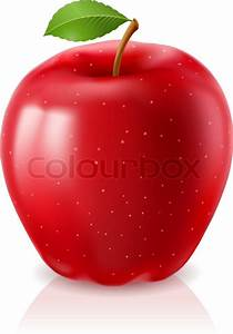 Ripe Red Apple Illustration On White Background