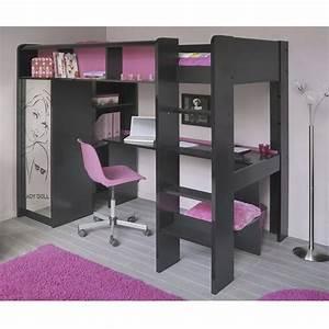 Lit Mezzanine Double : ladolly lit mezzanine 90 x 200 cm bureau tag res ~ Premium-room.com Idées de Décoration