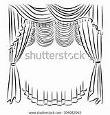 Curtains Template Coloring sketch template