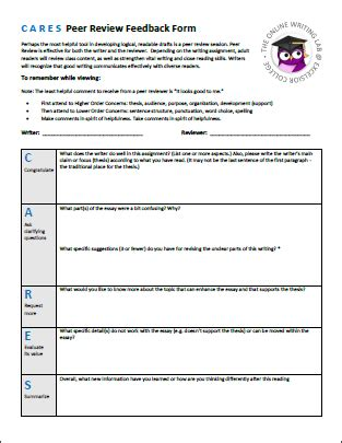 peer review template peer review excelsior college owl