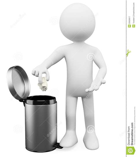 3D White People. Garbage Basket Stock Illustration